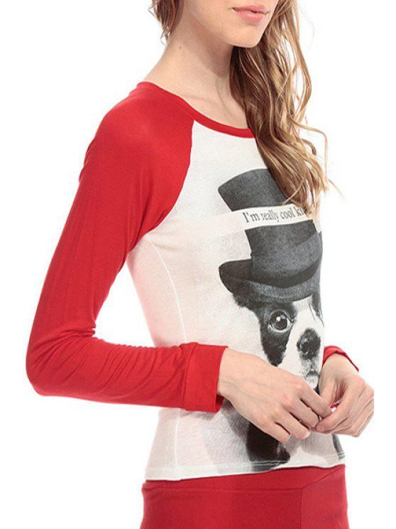 women Letter Dog Print Long Sleeve T-Shirt - RED XS