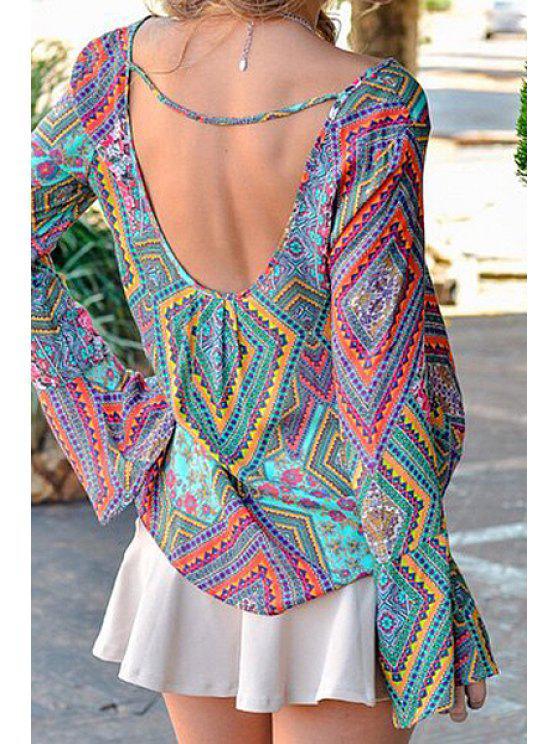 shops Tribal Print Long Sleeve Backless Blouse - COLORMIX S