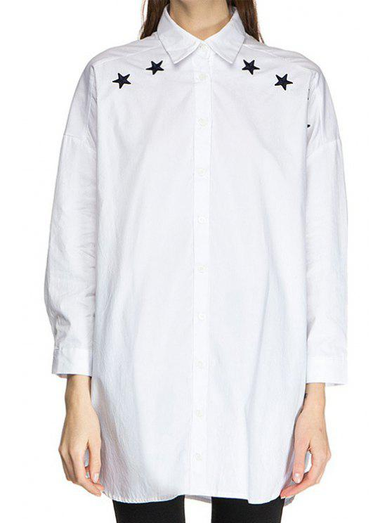 shop Polo Collar Black Star Print Long Sleeve Shirt - WHITE XS