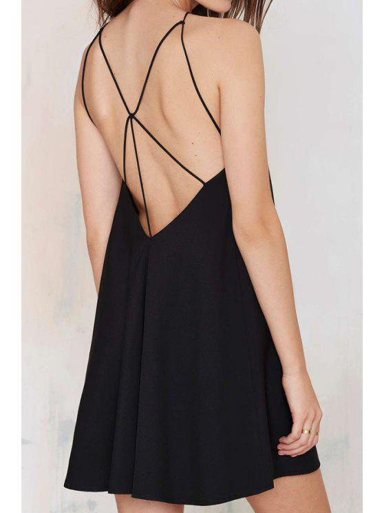 new Black Spaghetti Strap Backless Dress - BLACK S