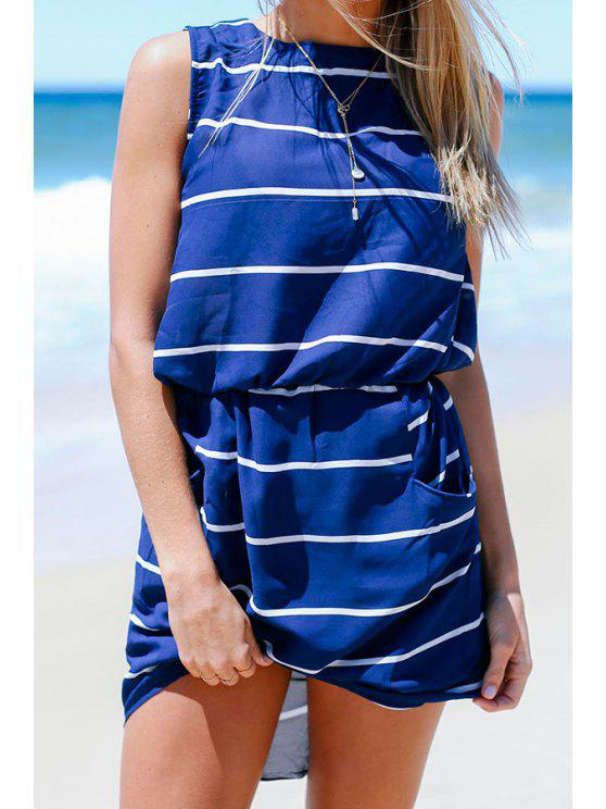 outfits Blue Sleeveless Striped Pocket Dress - BLUE S
