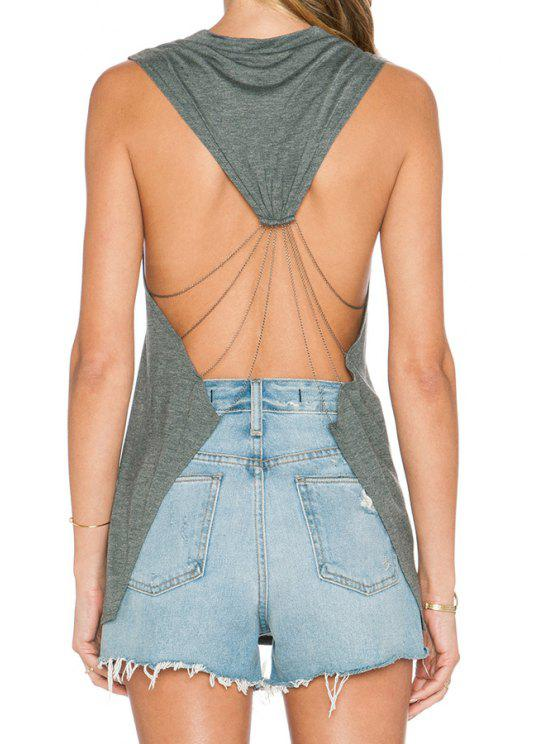 buy Grey Sleeveless Backless Letter Print Tank Top - GRAY S