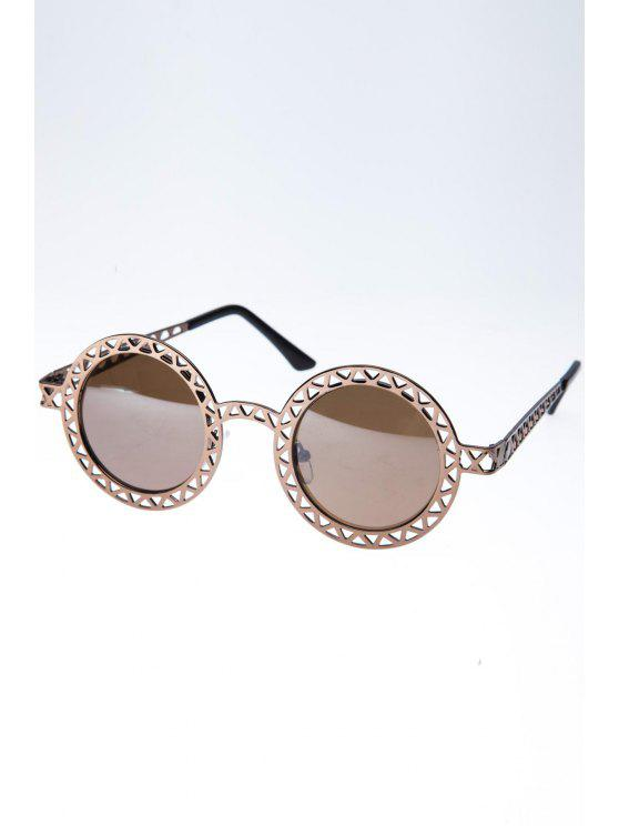 women's Hollow Out Zig Zag Round Sunglasses - BRONZE-COLORED