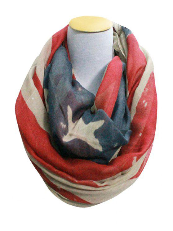 womens Stars and Stripes Print Neck Warmer - RED