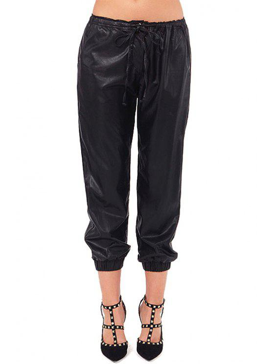 ladies Solid Color PU Leather Tie-Up Pants - BLACK M