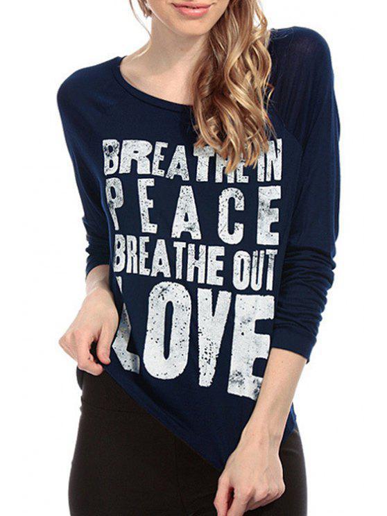 fashion Letter Print Long Sleeve T-Shirt - BLUE XS