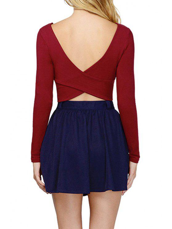 buy Jewel Neck Backless Solid Color Long Sleeve T-Shirt - WINE RED XS