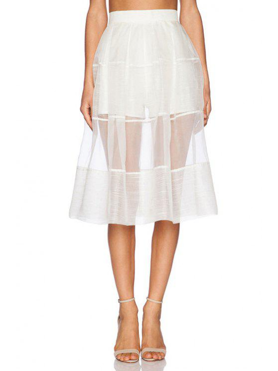shops White See-Through High Waisted Skirt - WHITE M