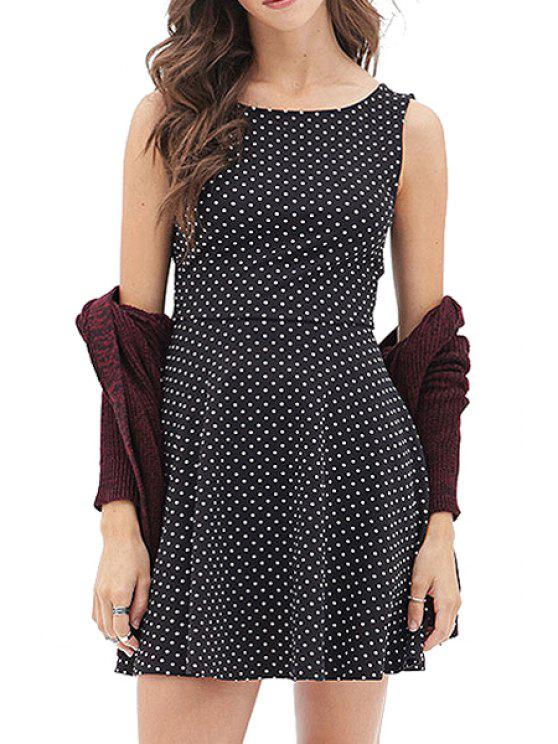 lady Polka Dot Backless Bowknot Sleeveless Dress - BLACK XS