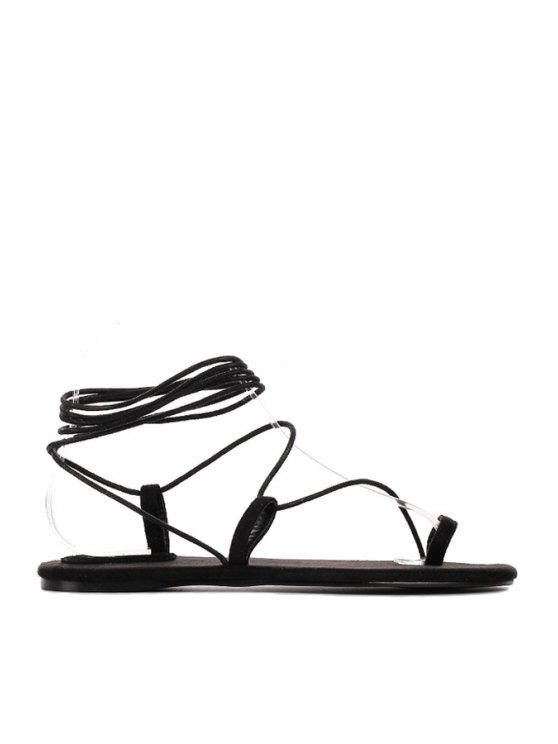 online Solid Color Lace Up Flat Sandals - BLACK 35