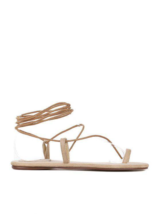fashion Solid Color Lace Up Flat Sandals - OFF-WHITE 39