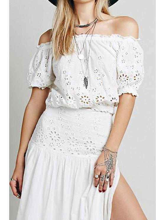 outfits Slash Neck Hollow Out Solid Color Blouse - WHITE M