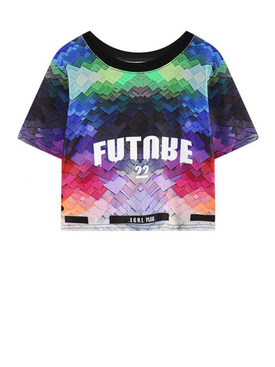 lady Letter Print Color Block Short Sleeve T-Shirt - COLORFUL ONE SIZE(FIT SIZE XS TO M)