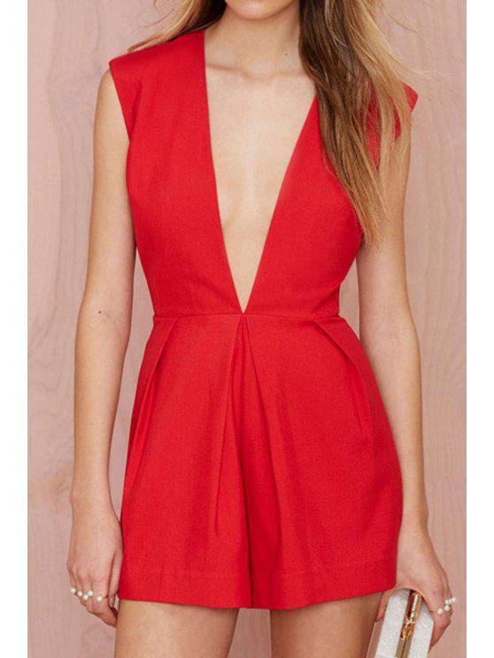 sale Red Plunging Neck Sleeveless Romper - RED S