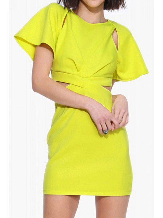 unique Yellow Cut Out Short Sleeve Dress - YELLOW S