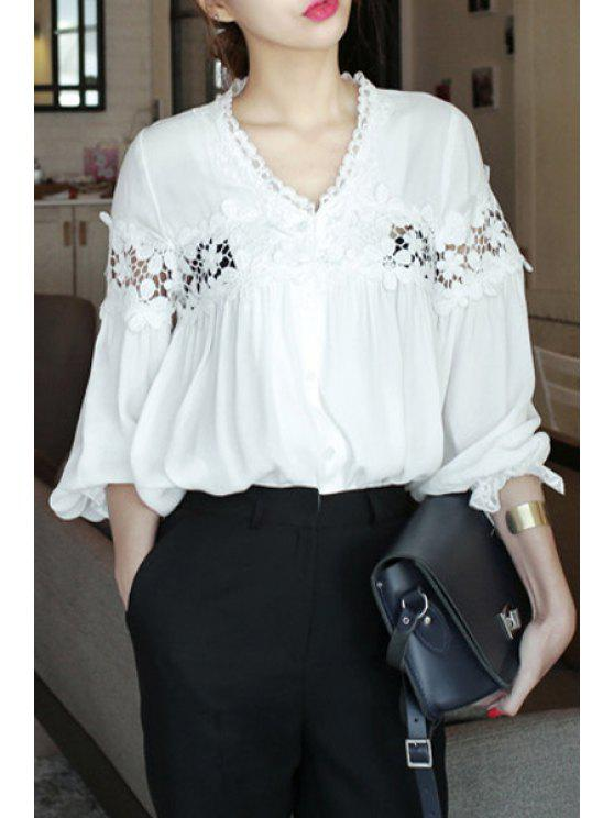 sale Long Sleeve Lace Spliced Hollow Out White T-Shirt - WHITE ONE SIZE(FIT SIZE XS TO M)