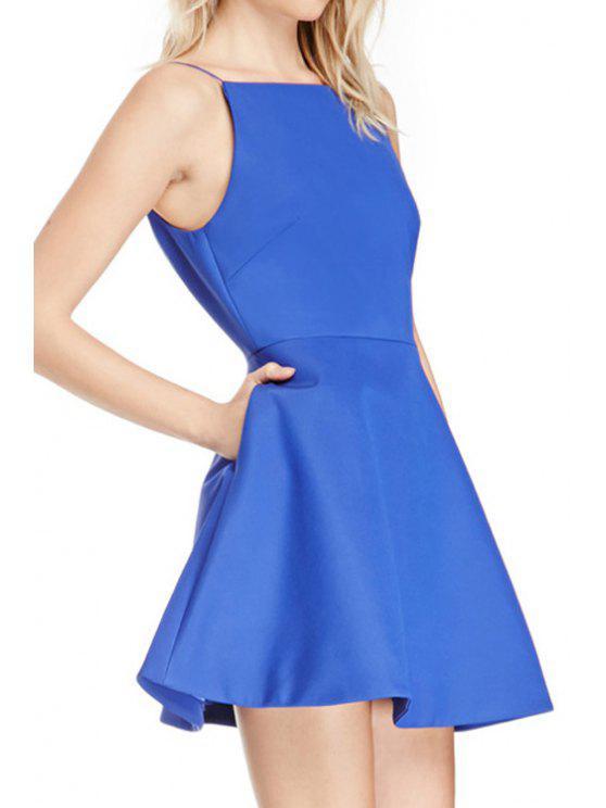 online Spaghetti Strap A Line Backless Dress - LIGHT BLUE S