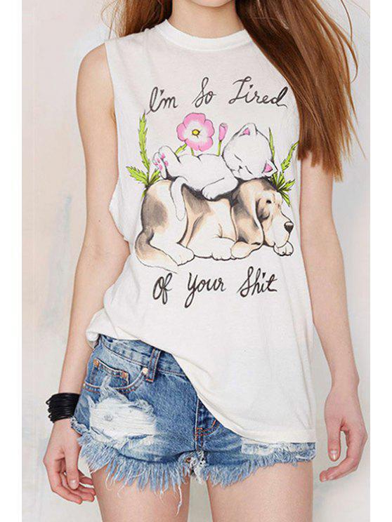 buy Kitten and Puppy Print Sleeveless T-Shirt - WHITE S