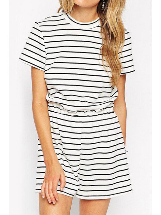 ladies Stripe Round Neck Short Sleeve Romper - STRIPE S