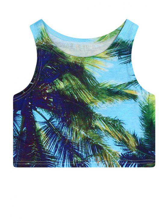 ladies Jewel Neck Leaves Print Crop Top - GREEN ONE SIZE(FIT SIZE XS TO M)