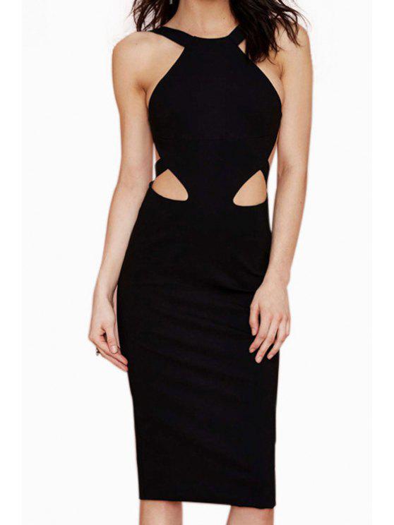 shops Black Bodycon Sleeveless Midi Dress - BLACK S