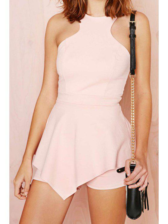 women Solid Color Ruffles Sleeveless Romper - PINK L