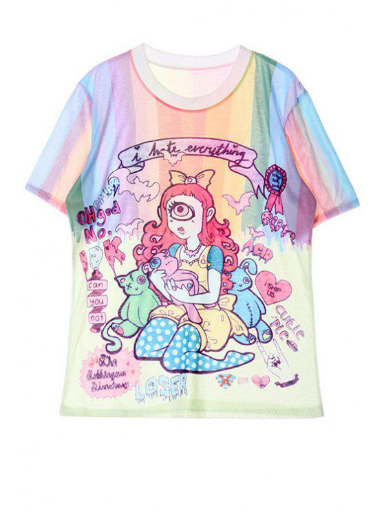 best Colorful Cartoon Letter Print Short Sleeve T-Shirt - GREEN ONE SIZE(FIT SIZE XS TO M)