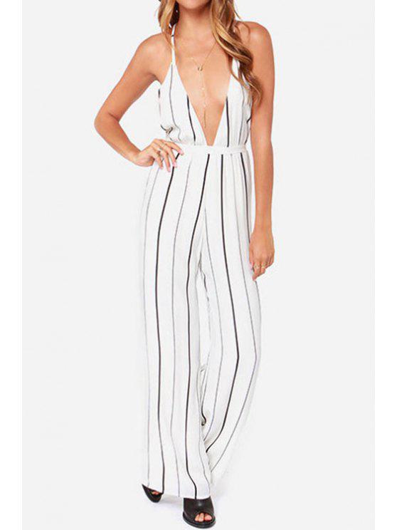 fashion Stripe Spaghetti Strap Wide Leg Jumpsuit - STRIPE XL