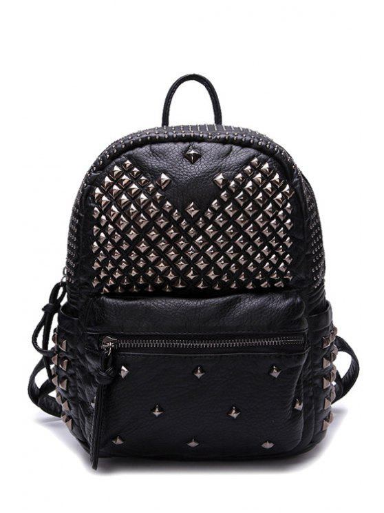 best Rivets Black Pu Leather Zipper Satchel - BLACK