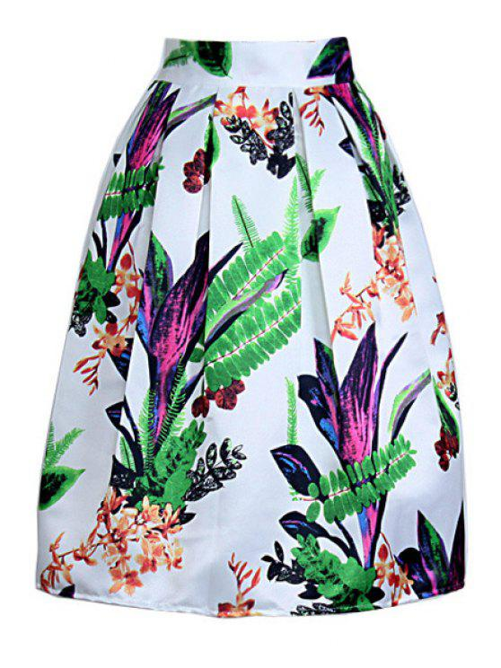 chic Floral Print High Waist A Line Skirt - COLORMIX ONE SIZE(FIT SIZE XS TO M)