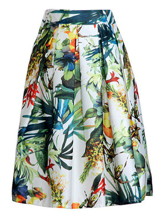 fancy Floral Print A Line Midi Skirt - GREEN ONE SIZE(FIT SIZE XS TO M)
