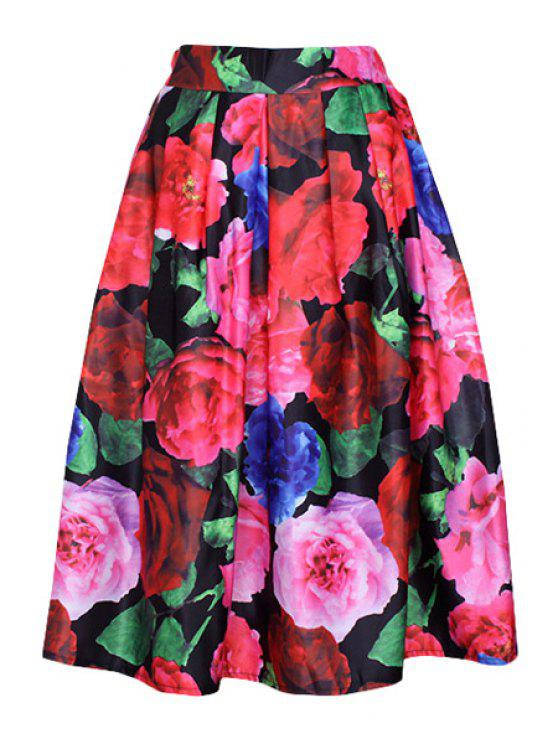 women Flower Print A Line Midi Skirt - RED ONE SIZE(FIT SIZE XS TO M)