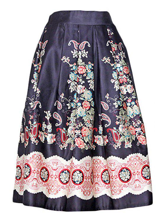 women's Vintage Print A Line Midi Skirt - BLACK ONE SIZE(FIT SIZE XS TO M)