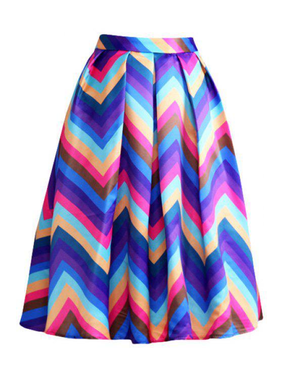 trendy Zig Zag Print A Line Midi Skirt - PURPLE L