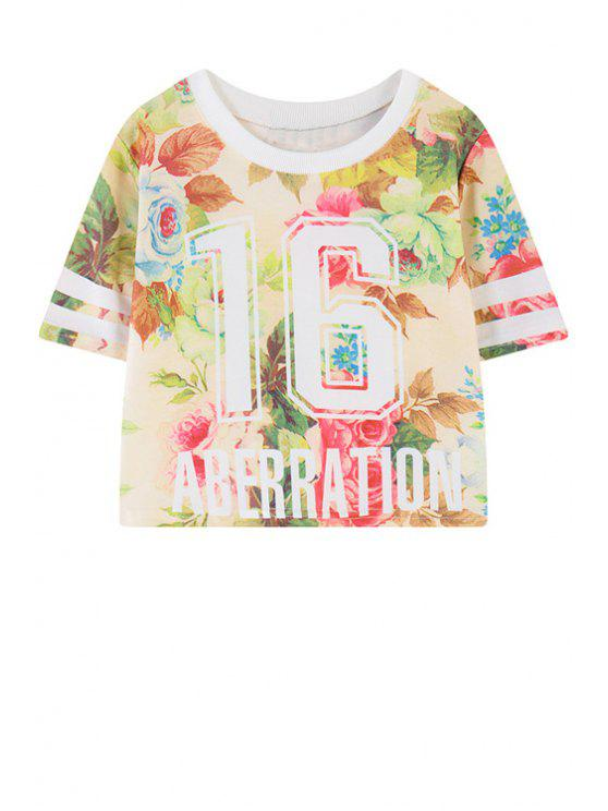 new Floral Letter Print Short Sleeve T-Shirt - GREEN ONE SIZE(FIT SIZE XS TO M)