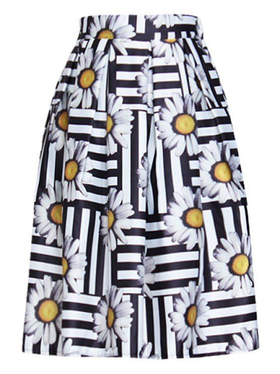 women Full Floral A Line Midi Skirt - BLACK ONE SIZE(FIT SIZE XS TO M)