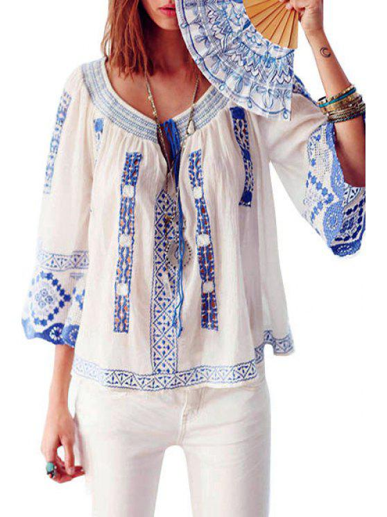 latest Scoop Neck Blue and White Porcelain Embroidery Blouse - BLUE