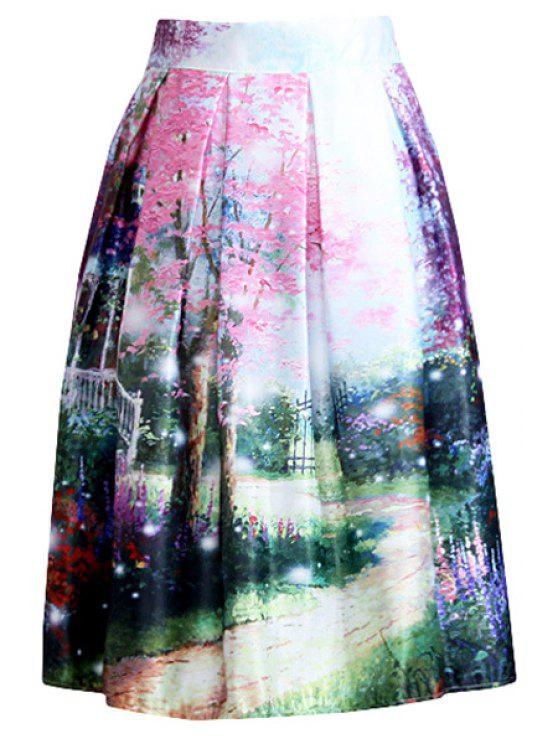 online Scenery Print A Line Midi Skirt - COLORMIX ONE SIZE(FIT SIZE XS TO M)