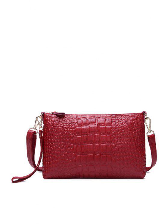ladies Crocodile Print PU Leather Clutch Bag - WINE RED