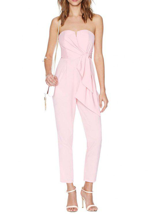 outfit Strapless Backless Tie Knot Solid Color Jumpsuit - PINK L