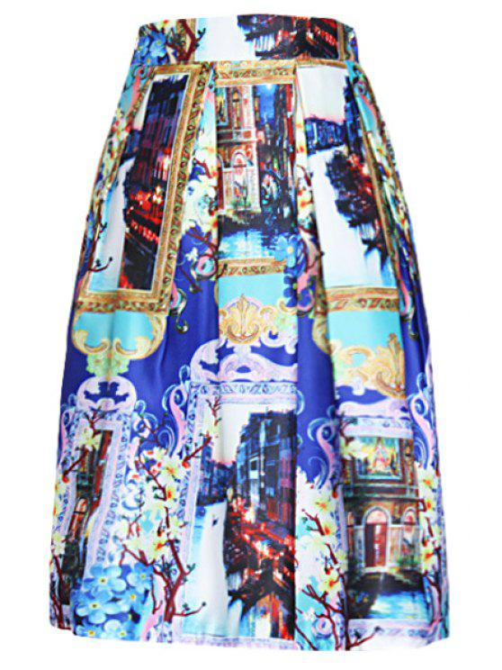 shop Landscape Print A Line Midi Skirt - BLUE ONE SIZE(FIT SIZE XS TO M)