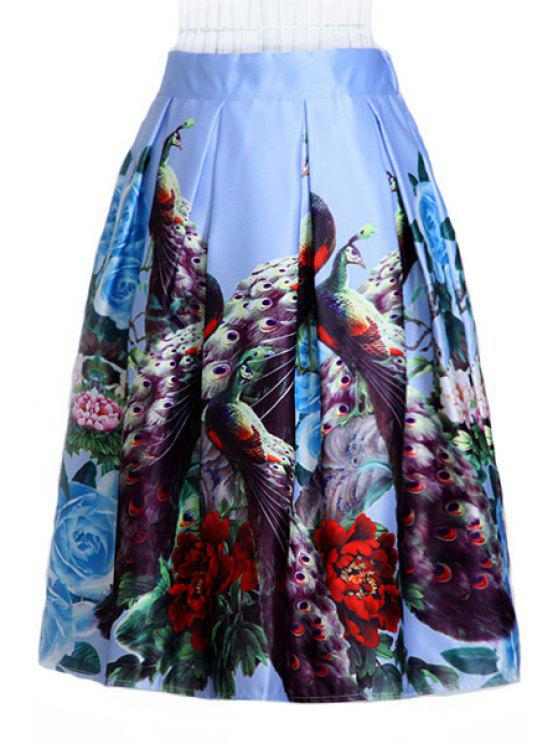 trendy Peacock Print A Line Midi Skirt - COLORMIX ONE SIZE(FIT SIZE XS TO M)