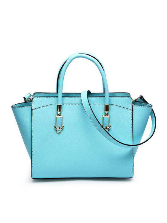buy Candy Color Buckle Metallic Tote Bag - BLUE