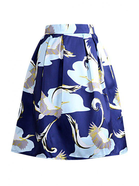 womens Crane Print A Line Midi Skirt - BLUE ONE SIZE(FIT SIZE XS TO M)