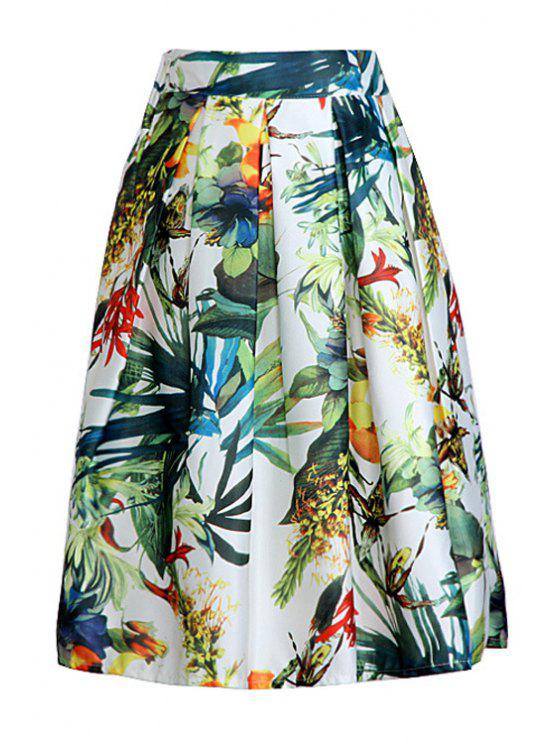 ladies Floral High Waist A Line Midi Skirt - COLORMIX ONE SIZE(FIT SIZE XS TO M)