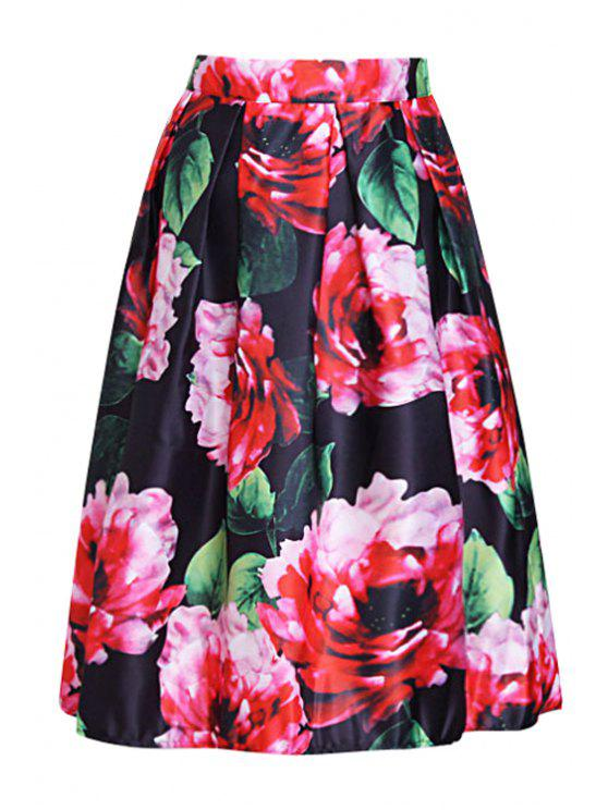 lady Red Floral Print A Line Midi Skirt - BLACK ONE SIZE(FIT SIZE XS TO M)
