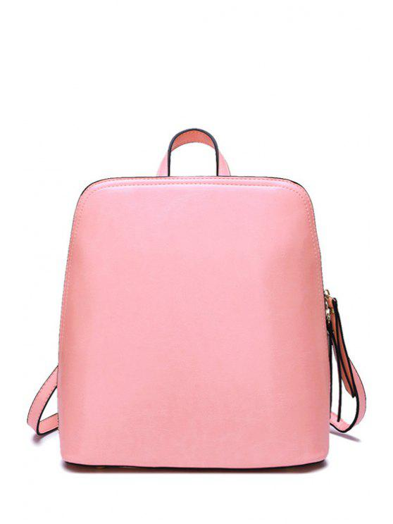 buy Candy Color PU Leather Zipper Satchel - PINK