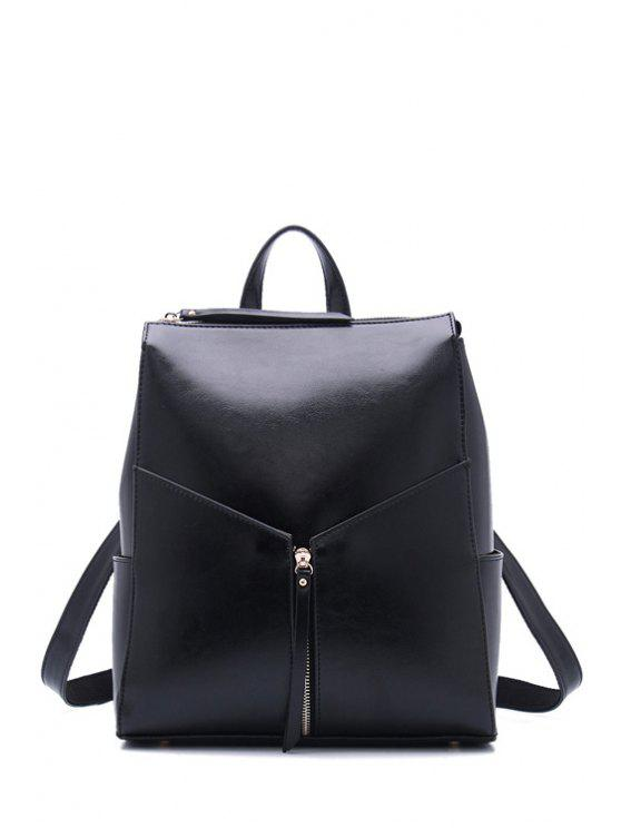 new Solid Color Zipper PU Leather Satchel - BLACK