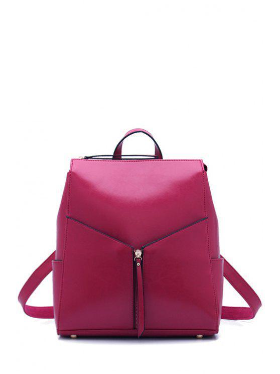 women's Solid Color Zipper PU Leather Satchel - ROSE