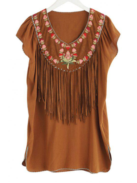 women's V-Neck Flower Embroidery Tassels Spliced Dress - CAMEL M